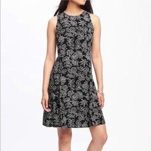 Old Navy Black Floral Swing Dress